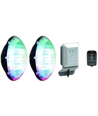 Set 2 becuri Led color RGB PAR56 Eolia WEX 30W si Modul comanda