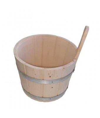 Galeata pentru sauna din lemn si inele de metal - 7 litri - Sentiotec