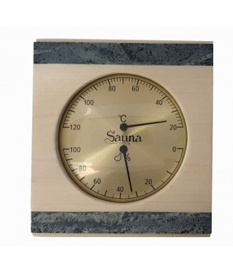 Termo-Hygrometru din lemn de aspen si piatra pentru sauna - Sentiotec