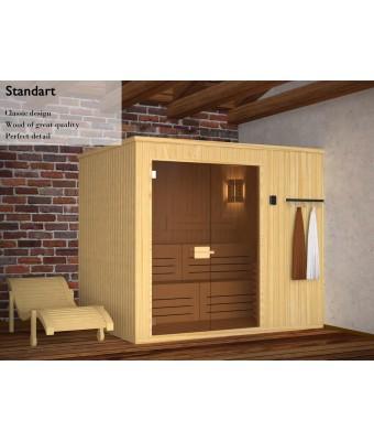 Sauna uscata modulara Classic 2 x 2 x 2.2 m din pin alb