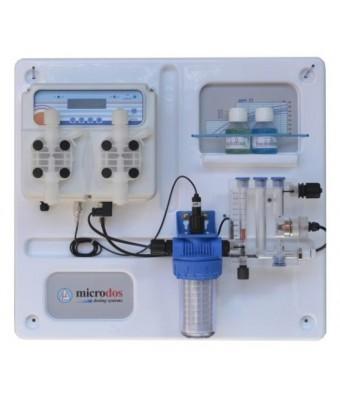Dozator- regulator Microdos ME Dual PVDF Panou PH - 5,0 l/h / Clorinator - 10,0 l/h  montat pe placă