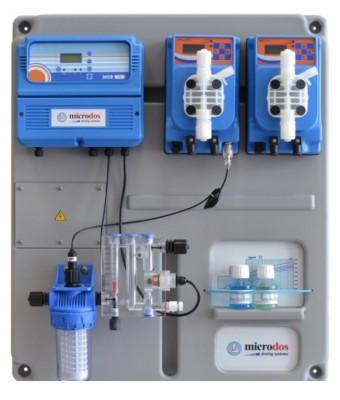Dozator - regulator cu membrana Microdos Pool Gold PH - 10 l/h / CL - 10 l/h   - montat pe placă